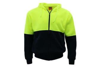 Hi-Vis Hooded Safety Workwear Fleece-lined Fleecy Full Zip Jumper Hoodie Jacket - Fluro Yellow/Navy