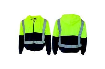 HI VIS Hoodie Jacket w Reflective Tape Fleece lined Zip Jumper Safety Workwear - Lime