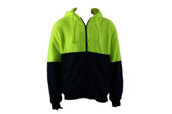 Hi Vis Safety Workwear Full Zip Thick Winter Sherpa Fleece Hoodie Jumper Jacket - Fluro Yellow/Navy