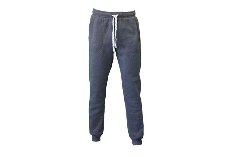 Men's Skinny Track Pants Fleece Lined Slim Cuff Trackies Slacks Tracksuit-Dark Grey [Size:L]