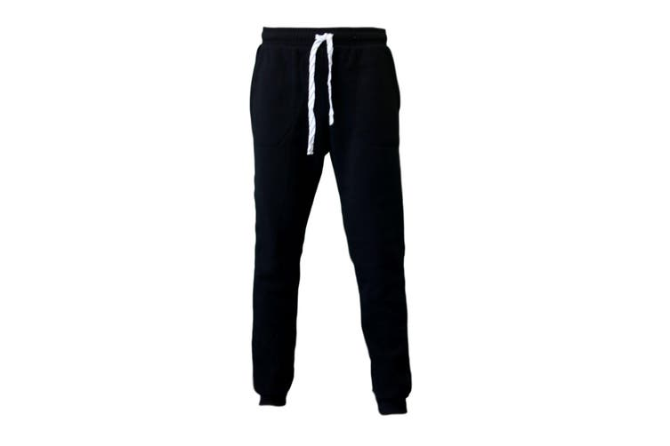 Men's Skinny Track Pants Fleece Lined Slim Cuff Trackies Slacks Tracksuit -Black [Size:XL]