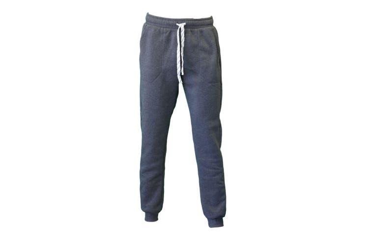Men's Skinny Track Pants Fleece Lined Slim Cuff Trackies Slacks Tracksuit-Dark Grey [Size:XS]