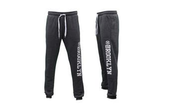 Men's Skinny Track Pants w Fleece Slim Cuff Trackies Slacks Tracksuit - Brooklyn -Dark Grey