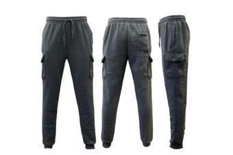Men's Skinny Cargo Track Pants w Fleece Slim Cuff Trackies Slacks Tracksuit -Dark Grey