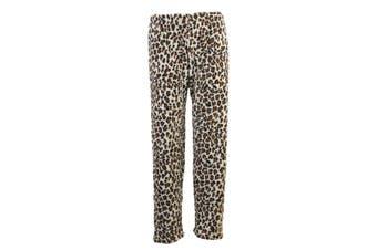 Women's Soft Plush Lounge Sleep Pyjama Pajama Pants Fleece Winter Sleepwear -Leopard Print - Brown