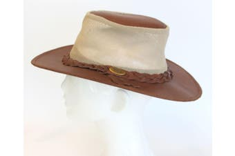 NEW Mens Womens Australian Aussie Outback Bush Hat Leather Indiana [Size: S] [Design: Indiana Mesh]