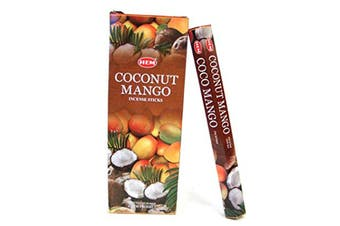 20-240 Incense Sticks HEM Nag Champa 110 Scents Hex Meditation Aroma Fragrance [Scent: Coconut Mango-20 Sticks-HEM]