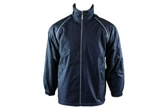 Mens Reversible/Convertible Hooded Windbreaker Windcheater Jacket Vest 4 in 1  - Navy