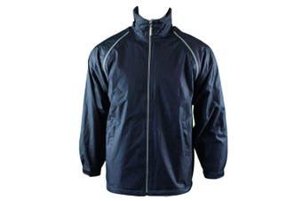 Mens Reversible/Convertible Hooded Windbreaker Windcheater Jacket Vest 4 in 1  - Navy