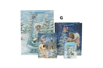 12x Christmas XMAS Gift Bags Cardboard Paper Bags w Foil [G] [Size: Medium]