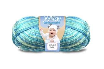 100g 3 Ply Baby Yarn Hypoallergenic Super Soft Yatsal Knitting Solid Multi Colours [Colour: #265 Azure (Multi) - Yatsal]