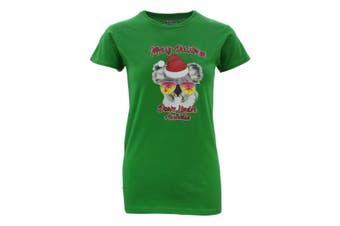 Womens Christmas Funny Tee Xmas Santa Tops Ladies 100% Cotton T Shirt Fit [Design: Koala w Sunglasses] [Colour: Green]