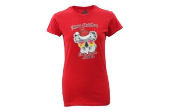 Womens Christmas Funny Tee Xmas Santa Tops Ladies 100% Cotton T Shirt Fit [Design: Koala w Sunglasses] [Colour: Red]