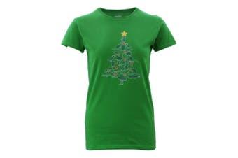Womens Christmas Funny Tee Xmas Santa Tops Ladies 100% Cotton T Shirt Fit [Design: Animals Tree] [Colour: Green]