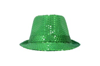 Trilby Sequin Fedora Hats MJ Fancy Dress Up Dance Jazz Sequinned Party Costume [Colour:Green]