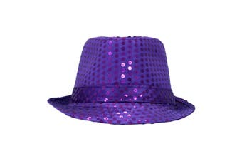 Trilby Sequin Fedora Hats MJ Fancy Dress Up Dance Jazz Sequinned Party Costume [Colour:Purple]