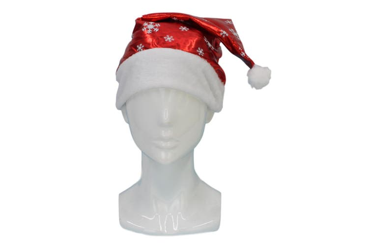Adult Unisex Christmas Xmas Novelty Hat Party Wear - Tree Rudolf Santa [Name: Santa Hat w Snow Flakes]