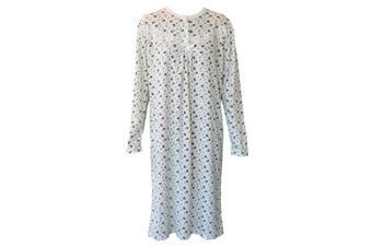 Women's Cotton Long Sleeve Nightie Night Gown Winter Pajamas Pyjamas Sleepwear -Flowers (Purple)