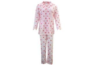 Women's Ladies Longsleeve Cotton Pajamas Pyjamas PJ Set Sleepwear - Pink