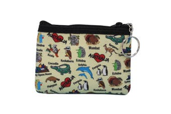 Australian Souvenir Coin Purse Pouch Bag Wallet Zip Australia Kangaroo Gift [Design: Style B - Animals]