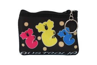 Australian Souvenir Coin Purse Pouch Bag Wallet Zip Australia Kangaroo Gift [Design: Style B - Koalas]