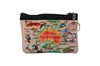 Australian Souvenir Coin Purse Pouch Bag Wallet Zip Australia Kangaroo Gift [Design: Style B - Map]