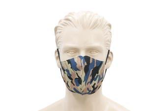 FIL Adult Unisex Reusable Cloth Cotton Face Mask 3 Layers  [Design: Camo - Blue Orange]
