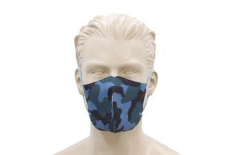 FIL Adult Unisex Reusable Cloth Cotton Face Mask 3 Layers  [Design: Camo - Blue]