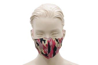 FIL Adult Unisex Reusable Cloth Cotton Face Mask 3 Layers  [Design: Camo - Pink]