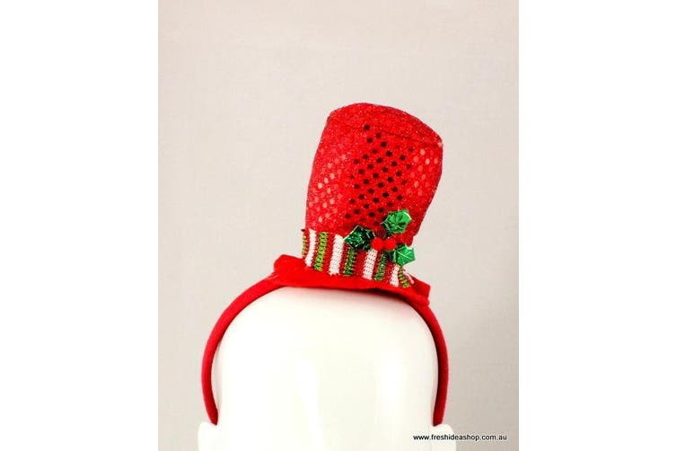Adult Kids Christmas Xmas Novelty Headband Hat Costume - Reindeer / Santa [Design: Top Hat]