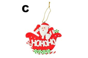 Christmas Decoration Tree Ornament Hanging Xmas Décor Santa Reindeer Angel A [Design: C]