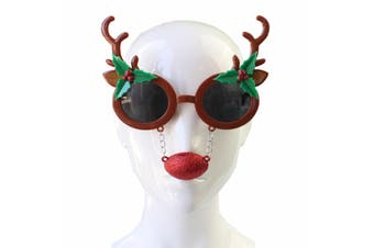 Christmas Xmas Party Glasses Photo Booth Props Costume Accessories Fancy Dress [Design: Antlers w Red Nose]