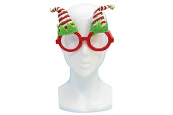 Christmas Xmas Party Glasses Photo Booth Props Costume Accessories Fancy Dress [Design: Elf Hats w Bells (Red)]
