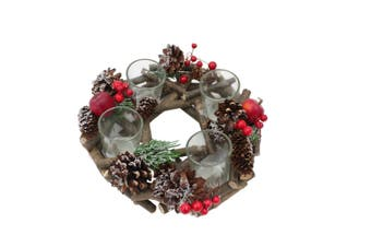 Christmas Xmas Red Berry Pine Leaves Branches Glass Candle Holder Table Decor [Design: 4 Cups-round]