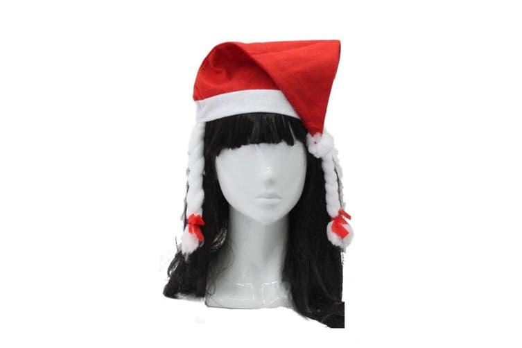 Santa Hat Costume Christmas Dress Up Unisex Adults Kids Novelty Xmas Party Cap [Design: Santa Hat w Braids]