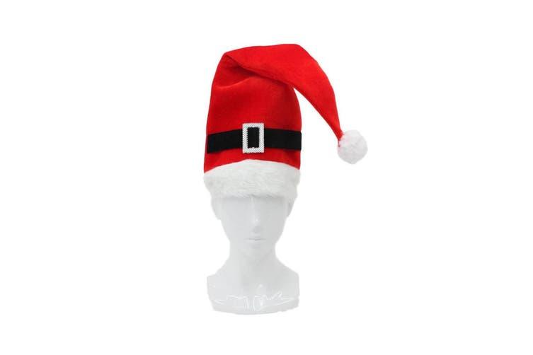 Santa Hat Costume Christmas Dress Up Unisex Adults Kids Novelty Xmas Party Cap [Design: Tall Santa Hat w Buckle]
