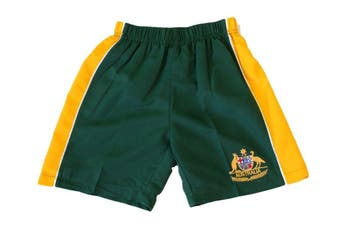 Kids Boys Board Shorts Australia Day Souvenir Beach Swim Surf Sport-Green & Gold