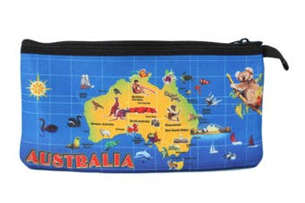 Australian Souvenir Kangaroo Aboriginal Pencil Case Pen Holder Pouch Zipped Bag [Design: Australian Animal Map]