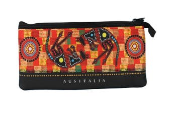 Australian Souvenir Kangaroo Aboriginal Pencil Case Pen Holder Pouch Zipped Bag [Design: Aboriginal Kangaroos]