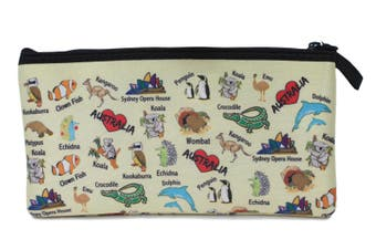 Australian Souvenir Kangaroo Aboriginal Pencil Case Pen Holder Pouch Zipped Bag [Design: Australian Animals]