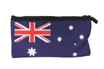 Australian Souvenir Kangaroo Aboriginal Pencil Case Pen Holder Pouch Zipped Bag [Design: Flag]