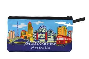 Australian Souvenir Kangaroo Aboriginal Pencil Case Pen Holder Pouch Zipped Bag [Design: Melbourne]