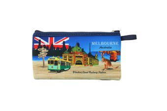 Australian Souvenir Kangaroo Aboriginal Pencil Case Pen Holder Pouch Zipped Bag - Melbourne A