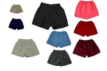 Adult Mens Casual Training Running Jogging Gym Sport Microfibre Shorts -Black