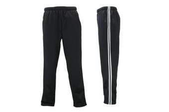 Men's Track Pants Relaxed Fit Fleece Lined Casual Trackies Slacks Tracksuit -Black w White Stripes