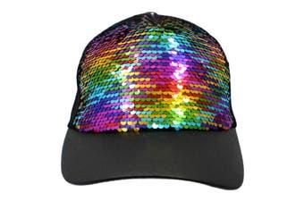 Trilby Sequin Fedora Hats Caps MJ Fancy Dress Up Dance Sequinned Party Costume [Colour: Cap - Black w Rainbow]