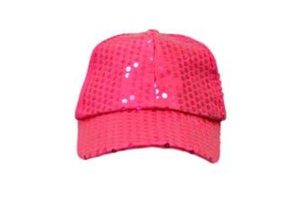 Trilby Sequin Fedora Hats Caps MJ Fancy Dress Up Dance Sequinned Party Costume [Colour: Cap - Pink]