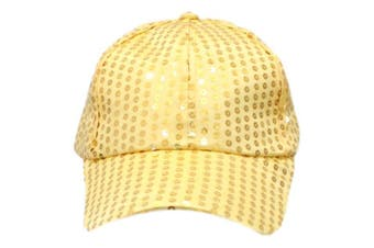 Trilby Sequin Fedora Hats Caps MJ Fancy Dress Up Dance Sequinned Party Costume [Colour: Cap - Yellow]