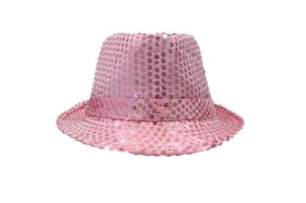 Trilby Sequin Fedora Hats Caps MJ Dress Up Dance Sequinned Plain Party Costume [Colour: Fedora - Light Pink]