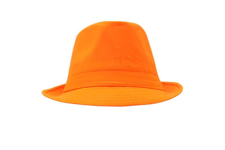 Trilby Sequin Fedora Hats Caps MJ Dress Up Dance Sequinned Plain Party Costume [Colour: Fedora - Orange (Plain)]